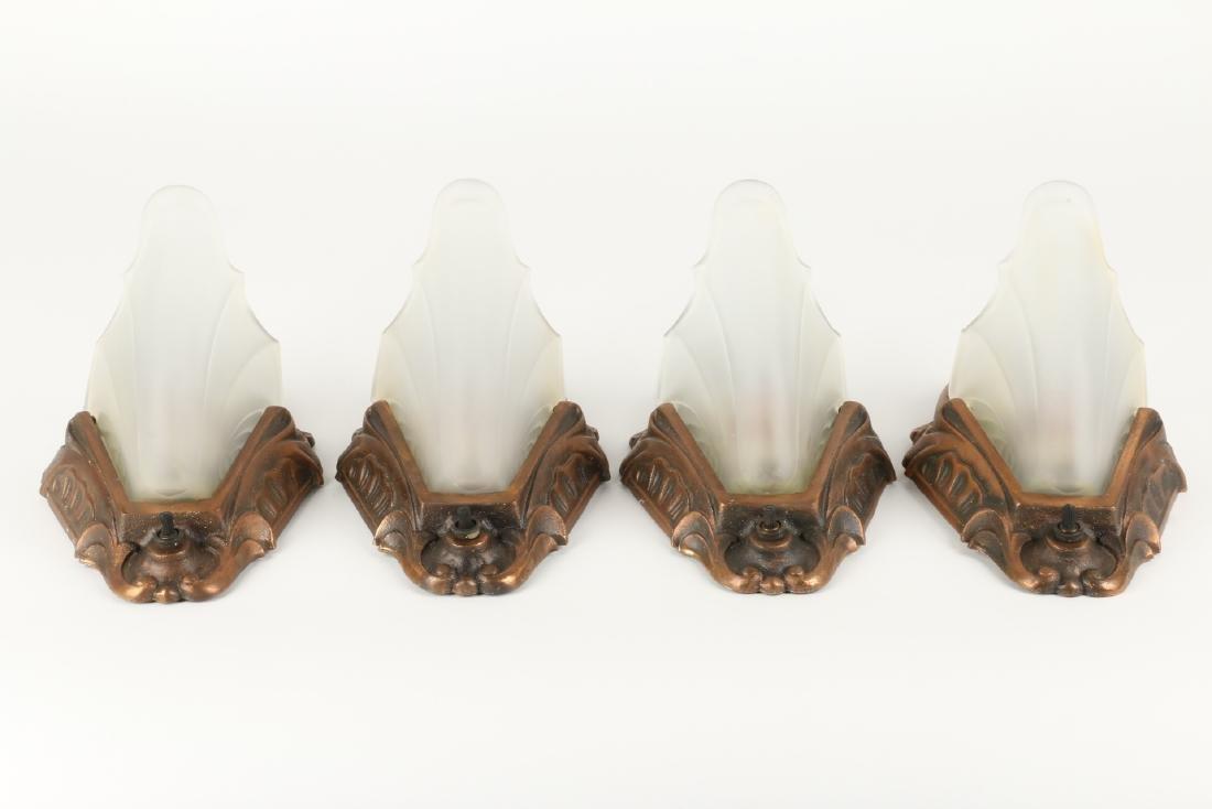 Art Deco Slip Shade Wall Sconces - 3