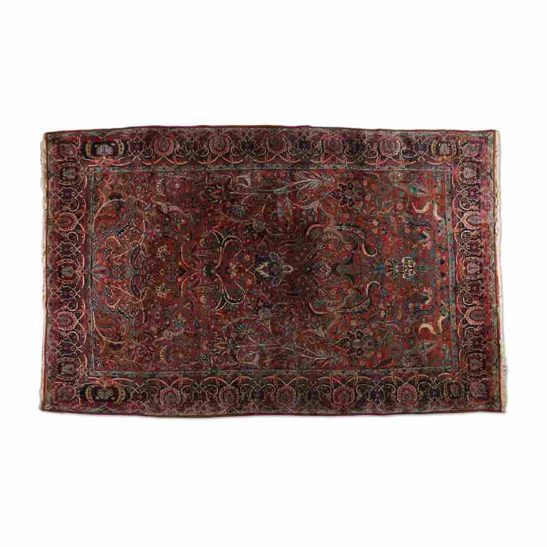 Handmade Persian Yazd Rug, 1920s