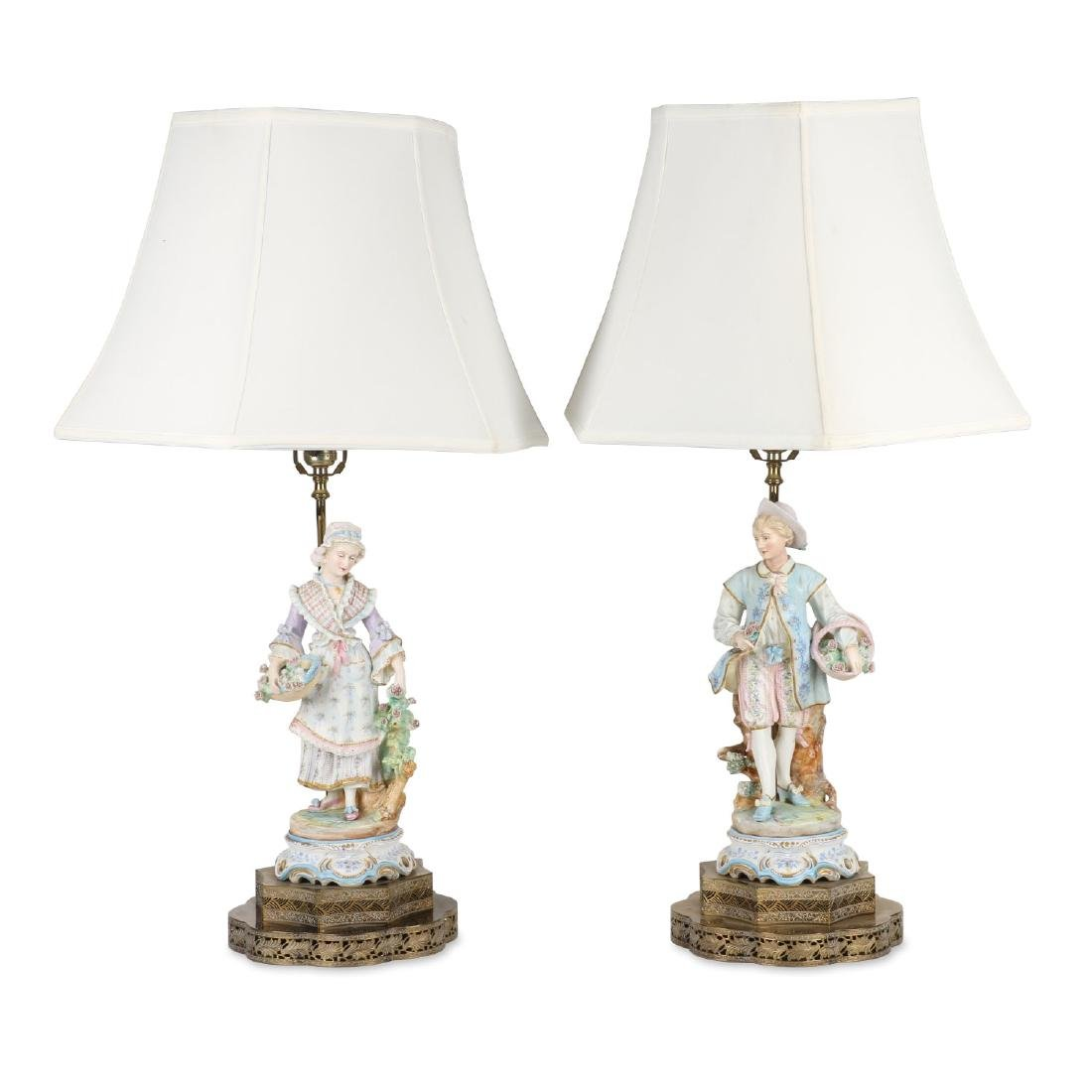 German Bisque Porcelain Lamps