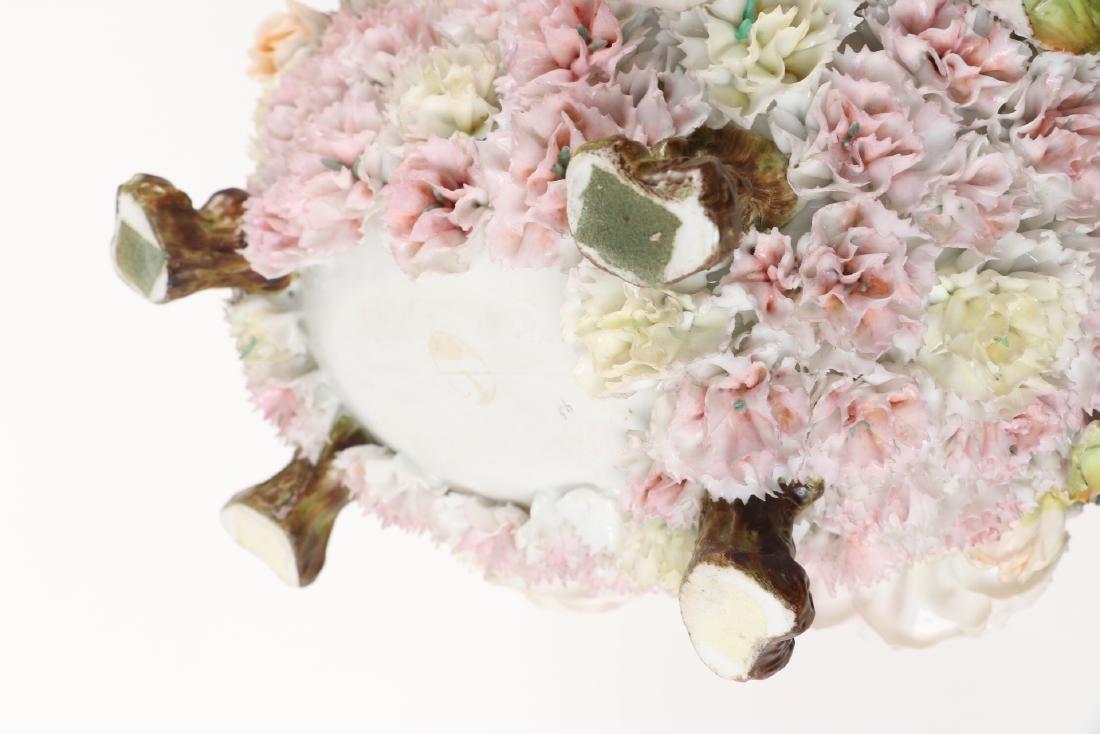 German Floral Encrusted Porcelain Basket - 10