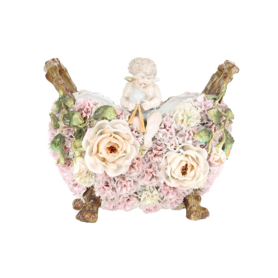 German Floral Encrusted Porcelain Basket