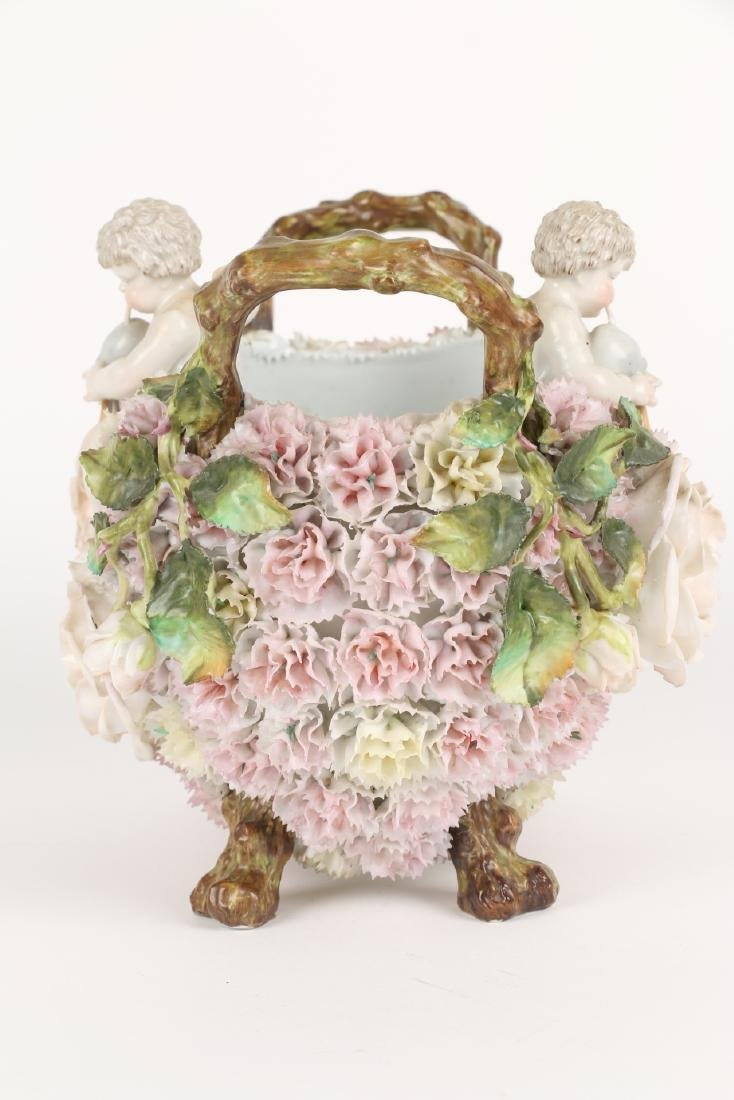 German Floral Encrusted Porcelain Basket - 4