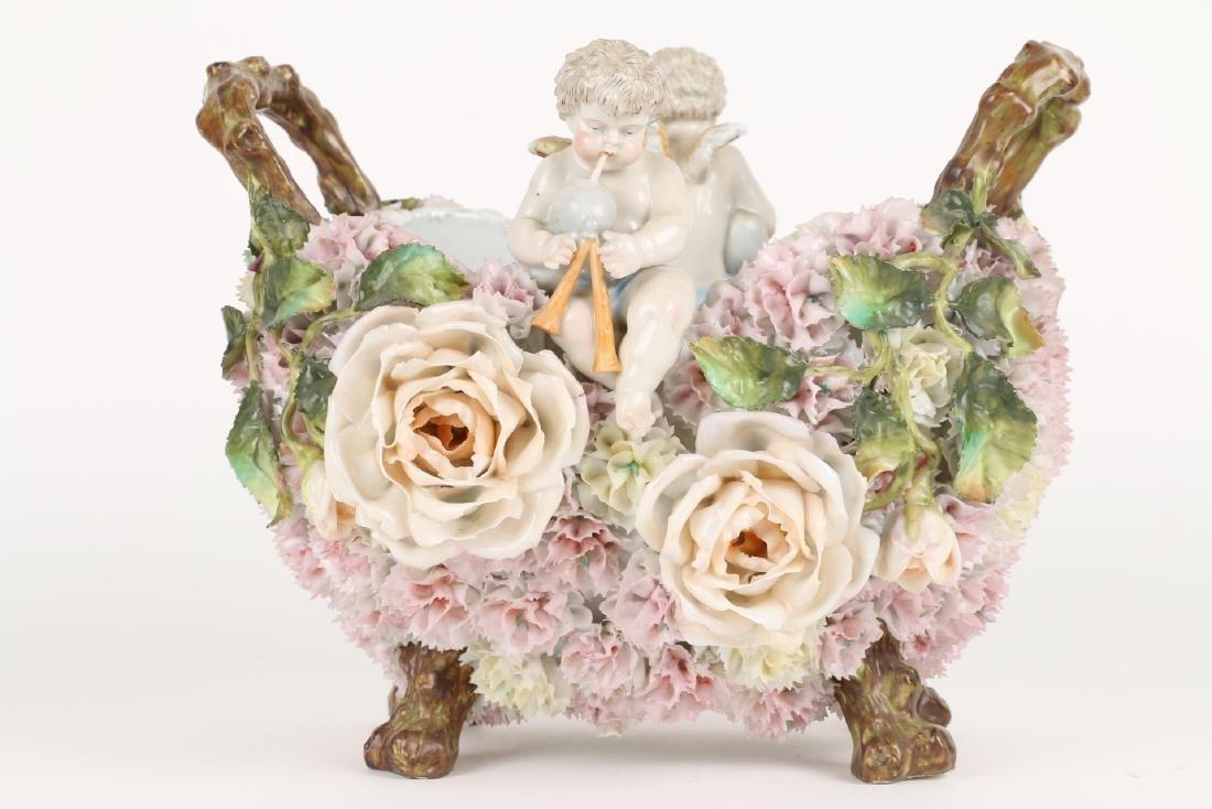 German Floral Encrusted Porcelain Basket - 5