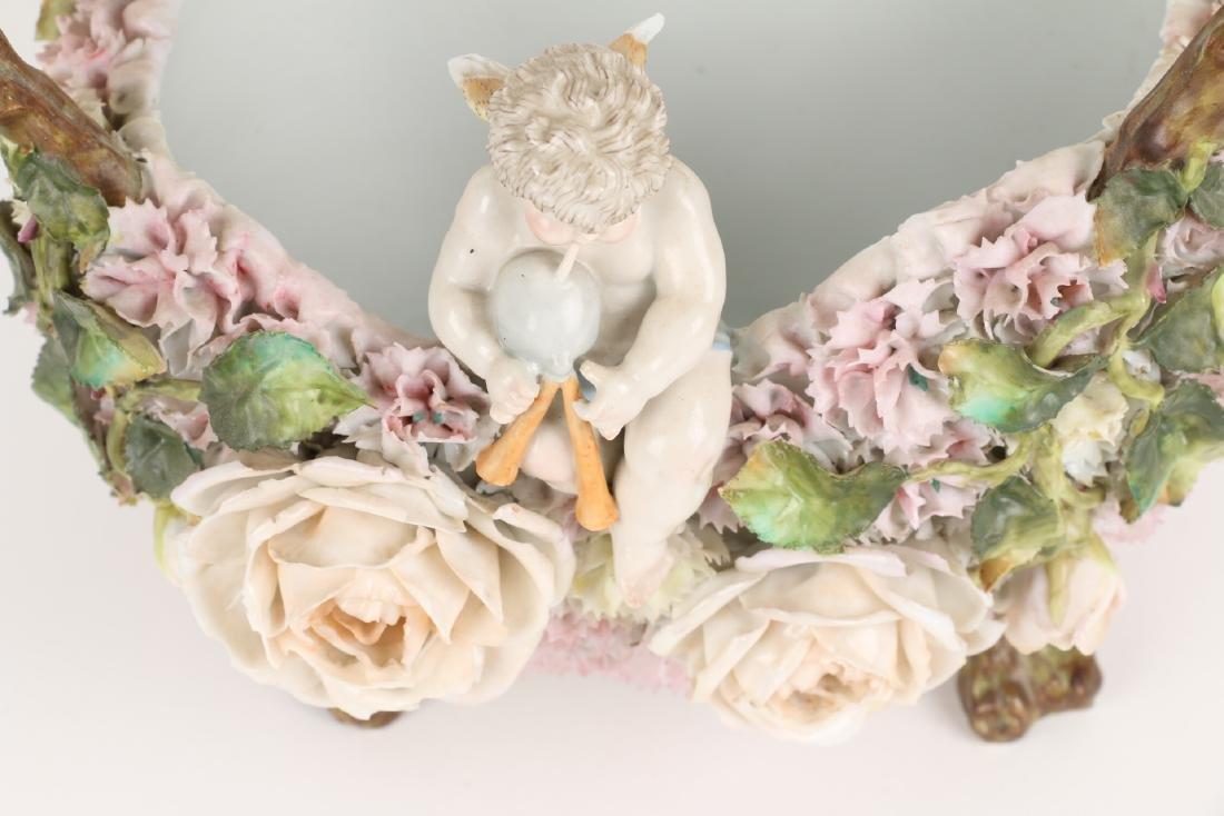German Floral Encrusted Porcelain Basket - 6