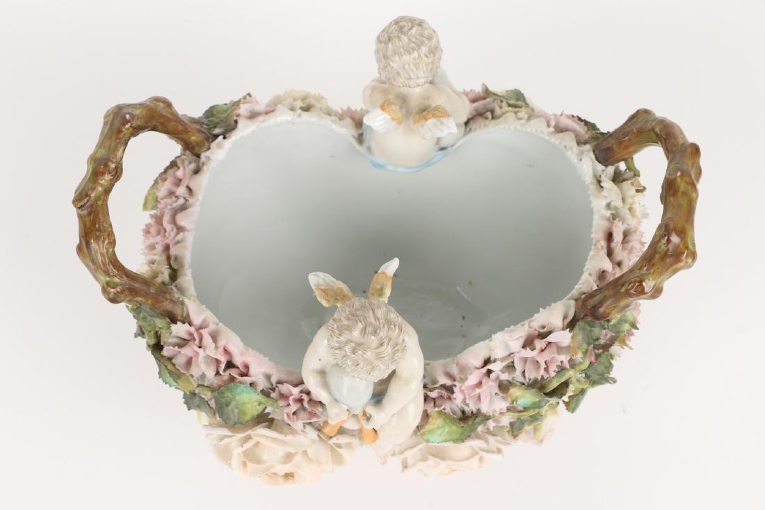 German Floral Encrusted Porcelain Basket - 8