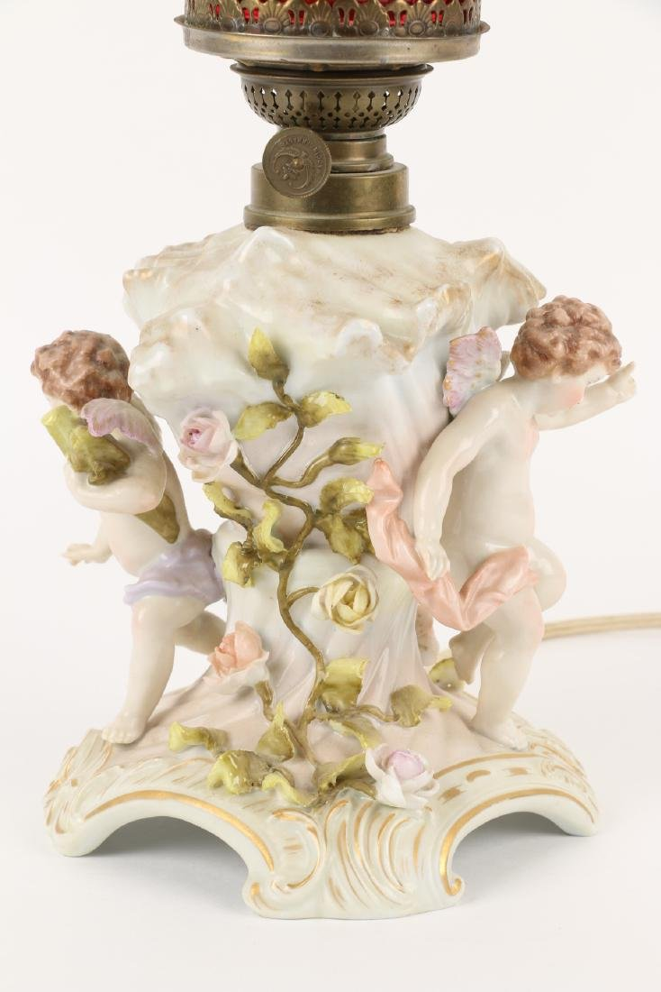 Meissen Lamp with Cranberry Shade - 5