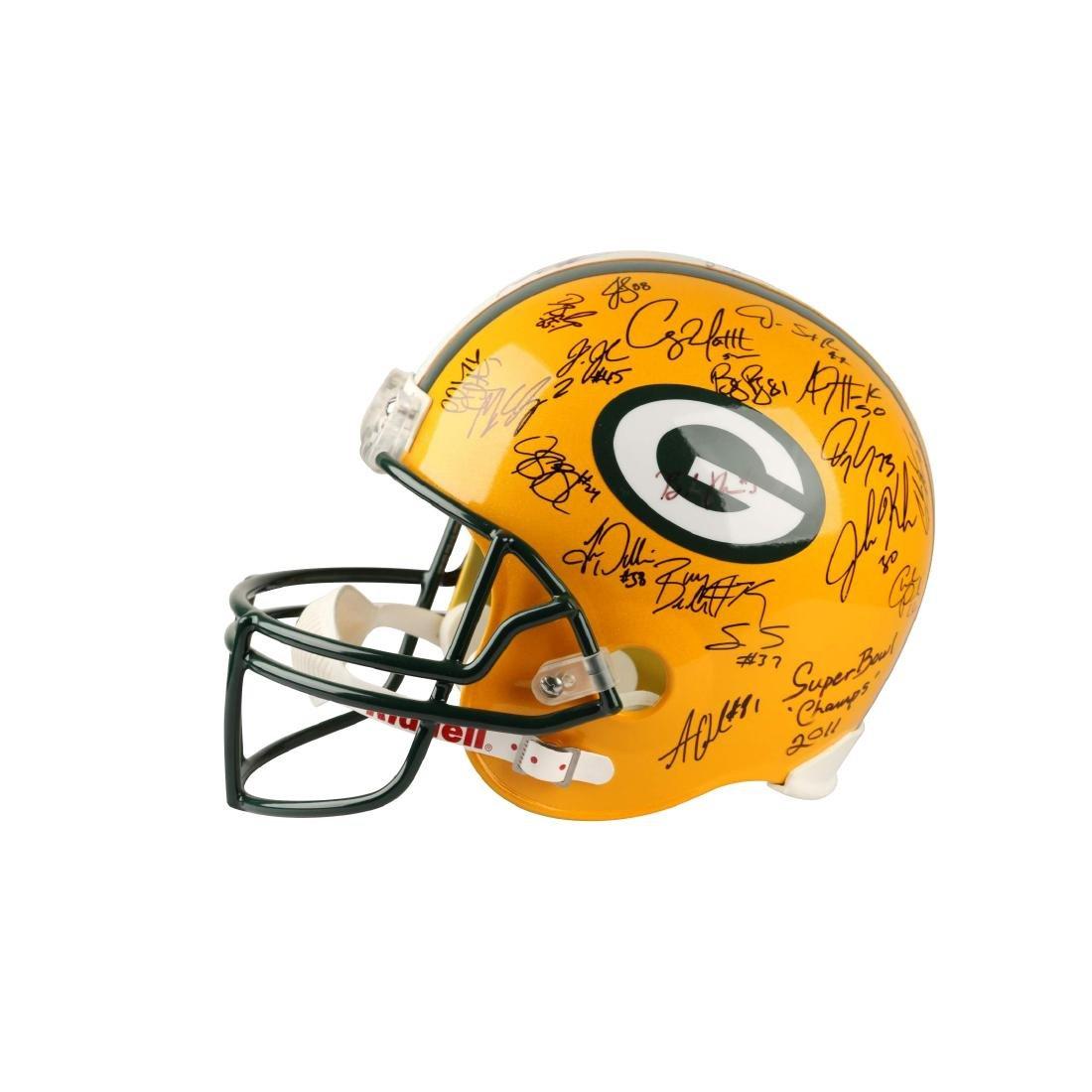 Team Signed GB Packers Football Helmet