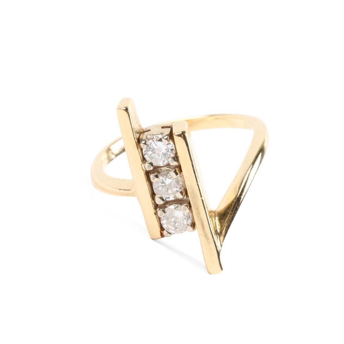 A 14K Gold & Diamond Ring