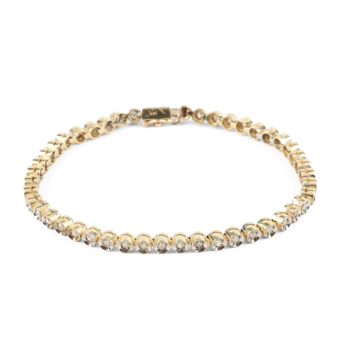 A 14K Gold, Diamond Bracelet
