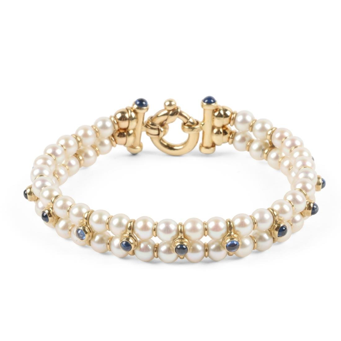 A 14K Yellow Gold, Cultured Pearl, Sapphire Bracelet