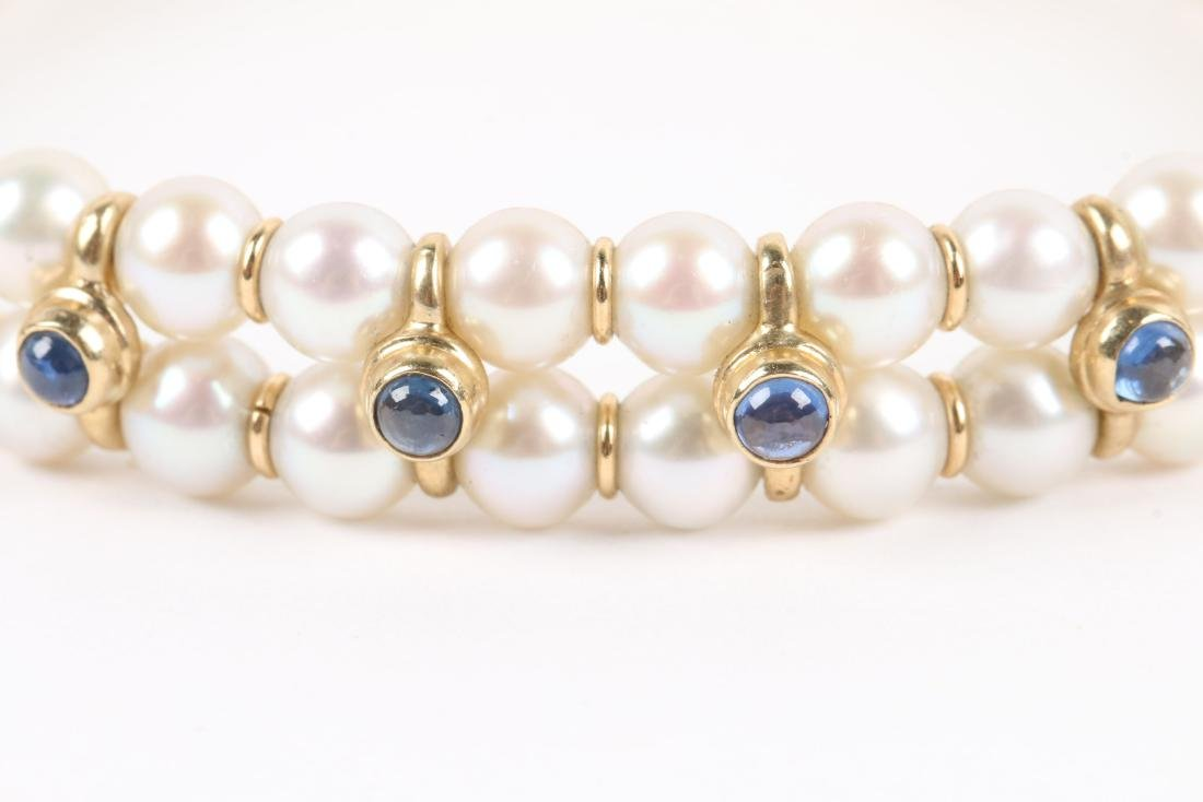 A 14K Yellow Gold, Cultured Pearl, Sapphire Bracelet - 2