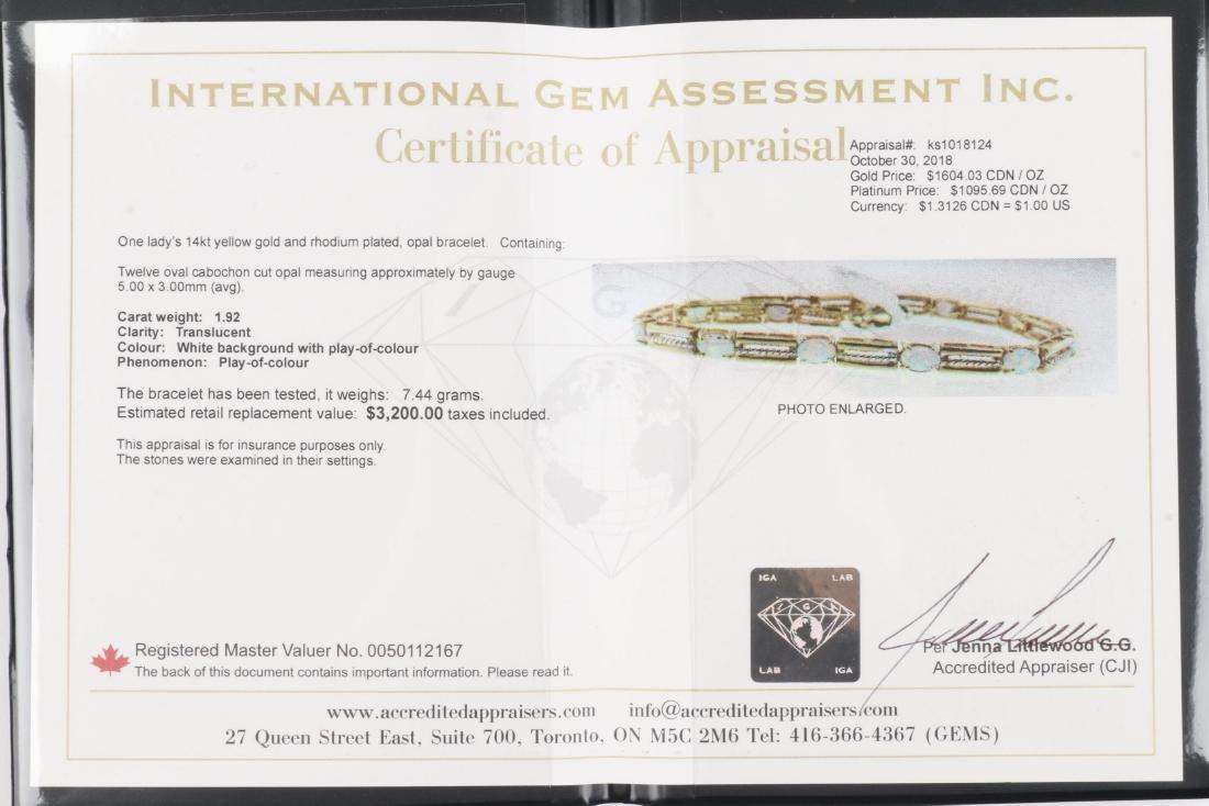 A 14K Yellow Gold, Opal Bracelet - 6