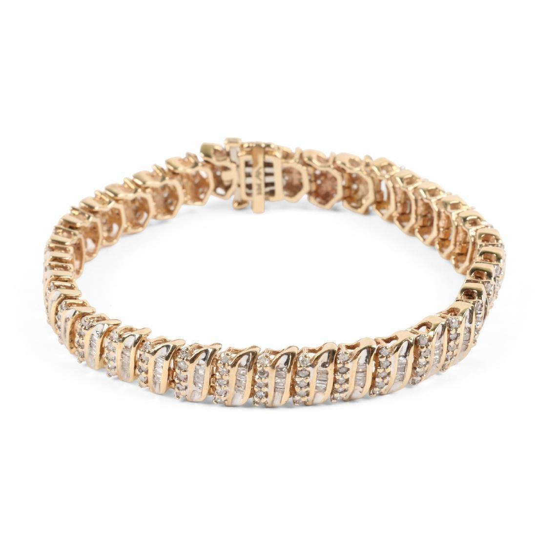 A 10K Yellow Gold, Diamond Bracelet