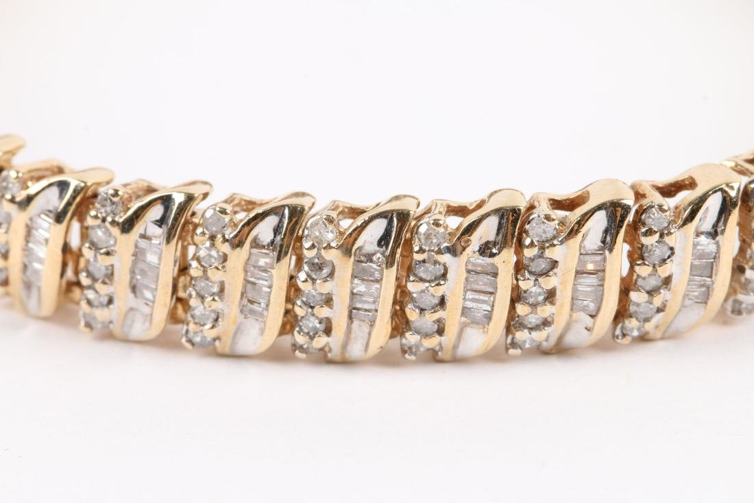 A 10K Yellow Gold, Diamond Bracelet - 2