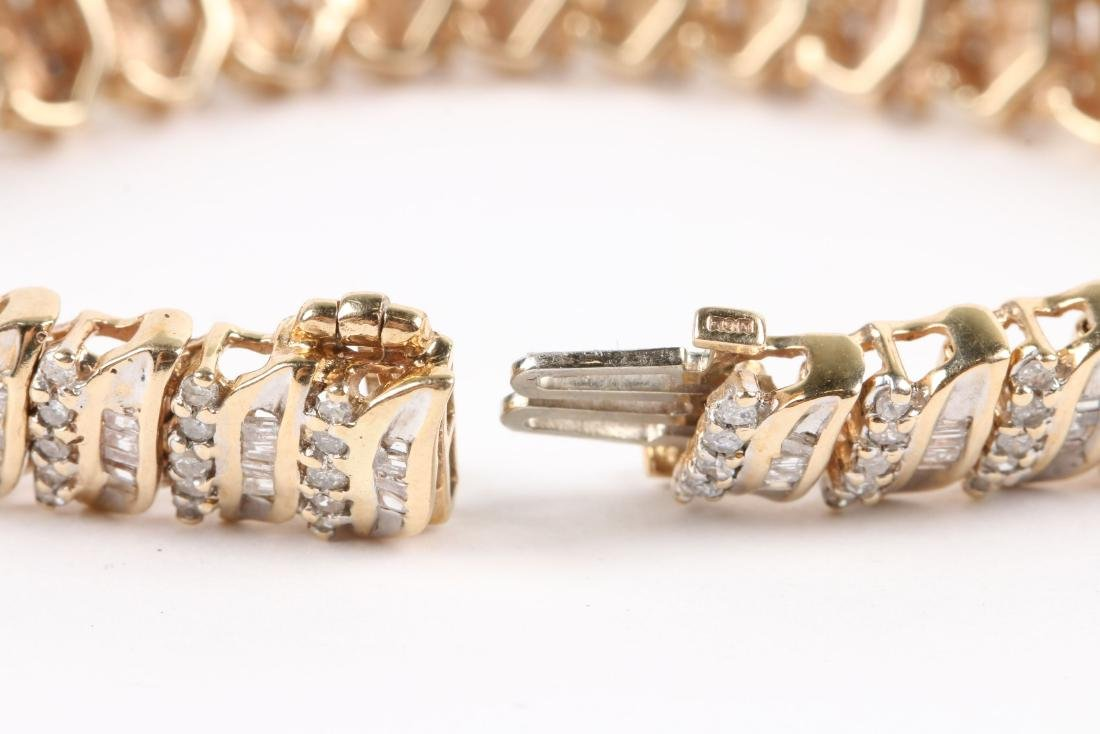 A 10K Yellow Gold, Diamond Bracelet - 4