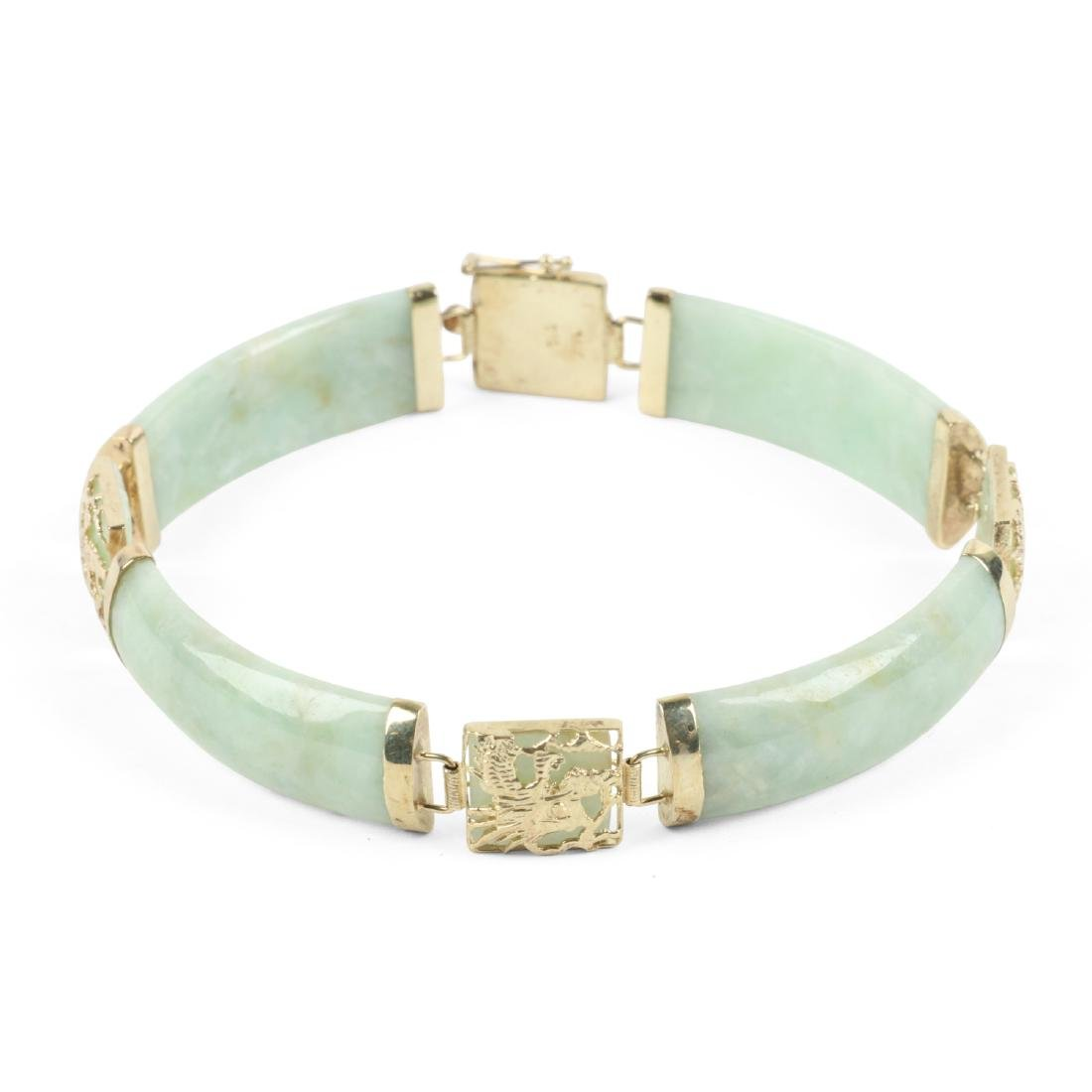 A 14K Yellow Gold & Jade Bracelet