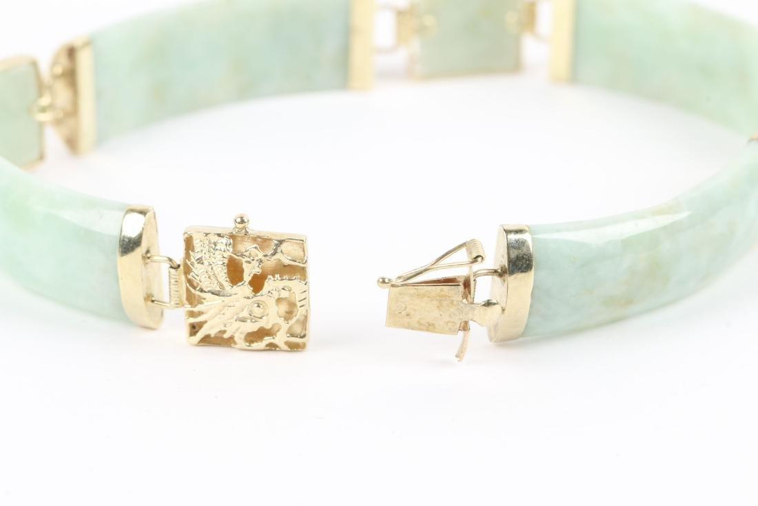 A 14K Yellow Gold & Jade Bracelet - 5