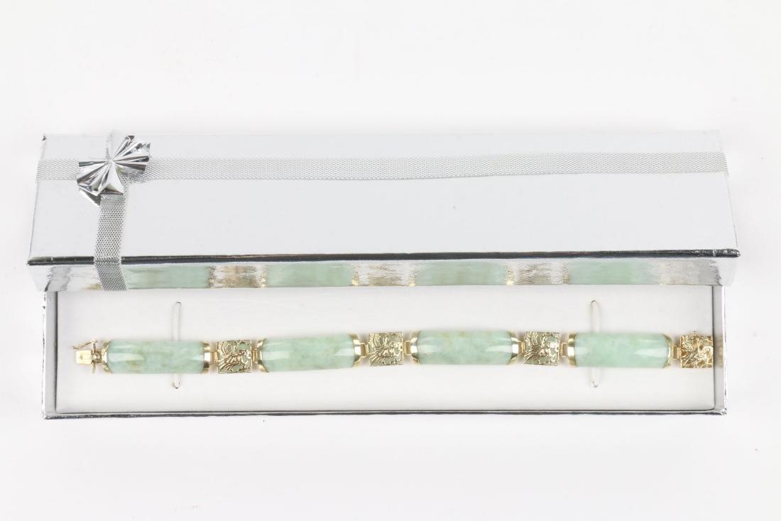 A 14K Yellow Gold & Jade Bracelet - 6