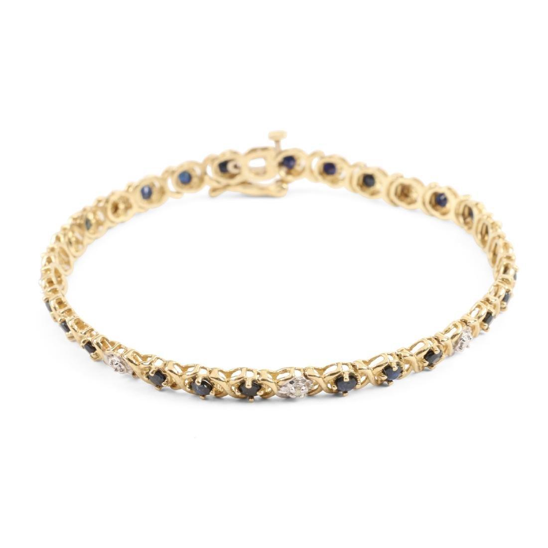 A 14K Gold, Sapphire & Diamond Bracelet