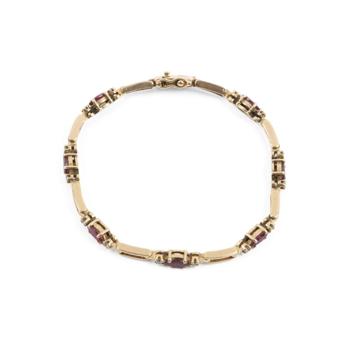 A 14K, Amethyst & Diamond Tennis Bracelet