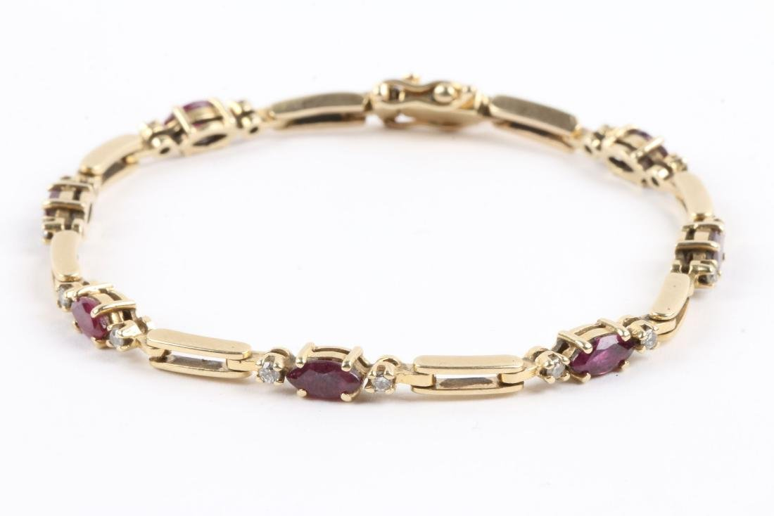 A 14K, Amethyst & Diamond Tennis Bracelet - 2