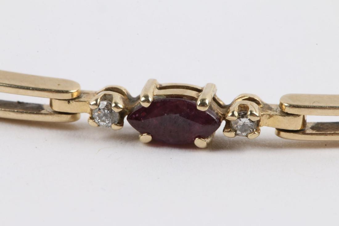 A 14K, Amethyst & Diamond Tennis Bracelet - 3