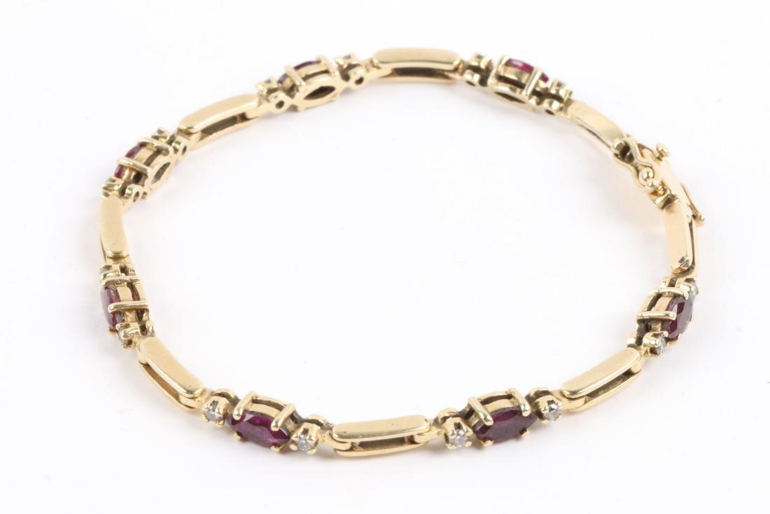 A 14K, Amethyst & Diamond Tennis Bracelet - 4