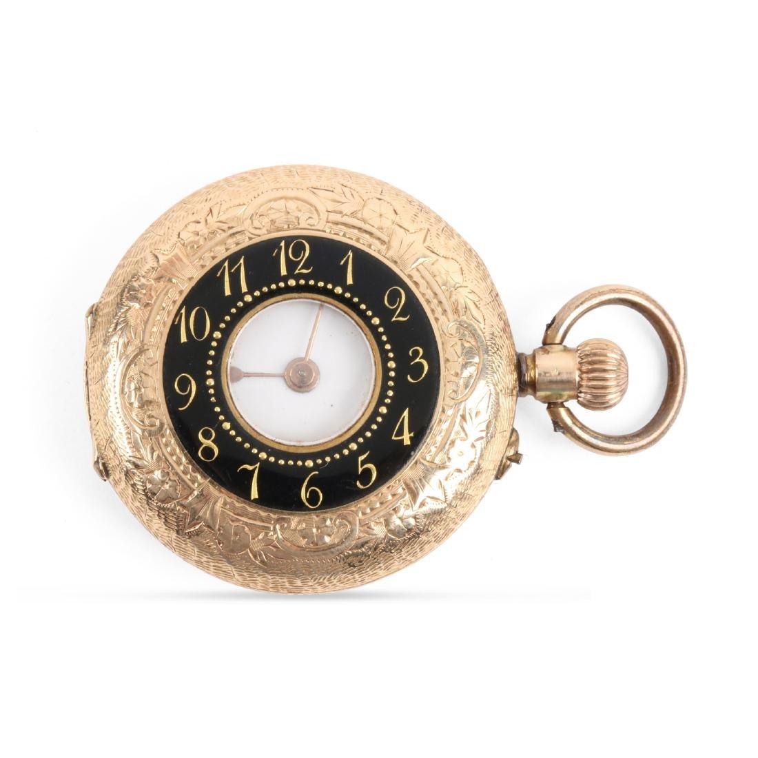 French, Lady's Enameled 14K Pocket Watch