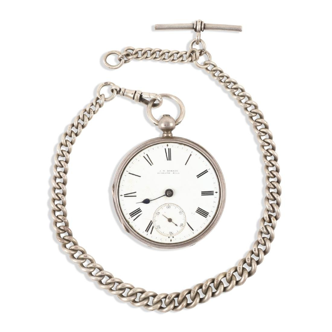 J.W Benson, English Pocket Watch & Chain