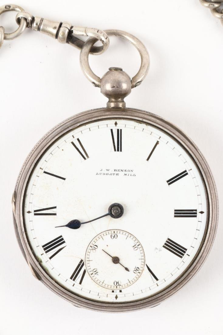 J.W Benson, English Pocket Watch & Chain - 2