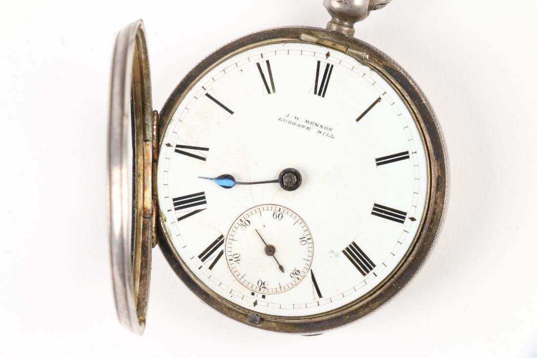 J.W Benson, English Pocket Watch & Chain - 3
