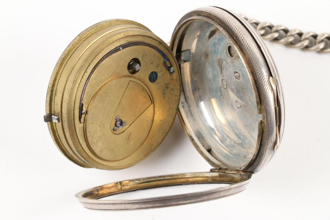 J.W Benson, English Pocket Watch & Chain - 4