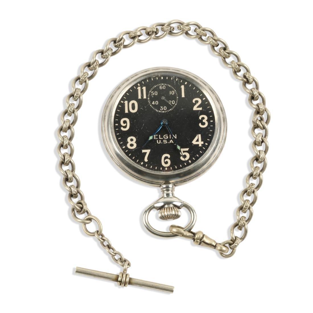 Elgin, Military Pocket Watch & Chain