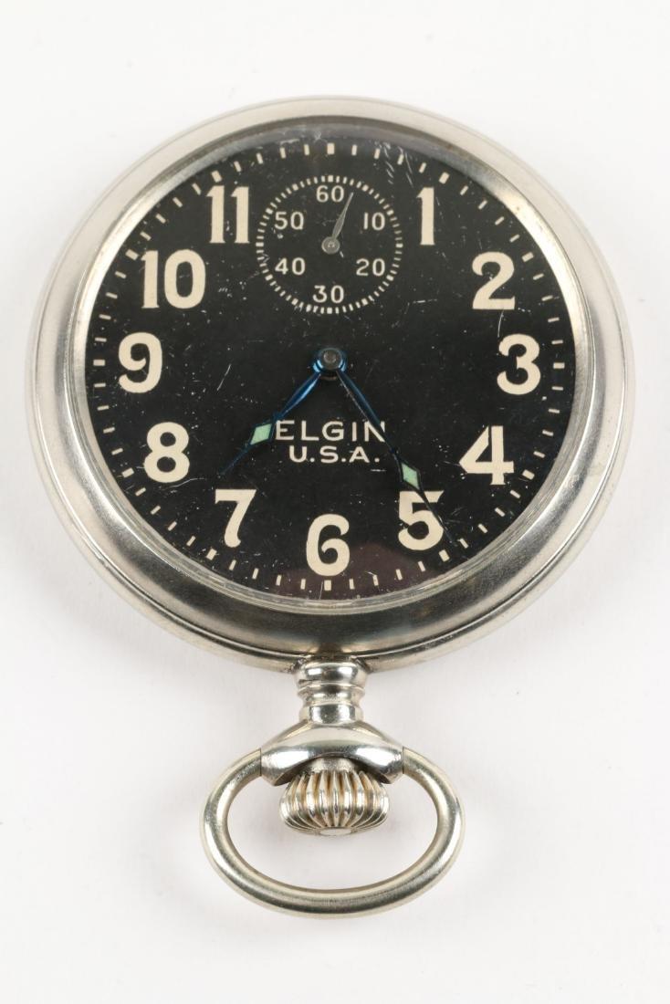 Elgin, Military Pocket Watch & Chain - 2