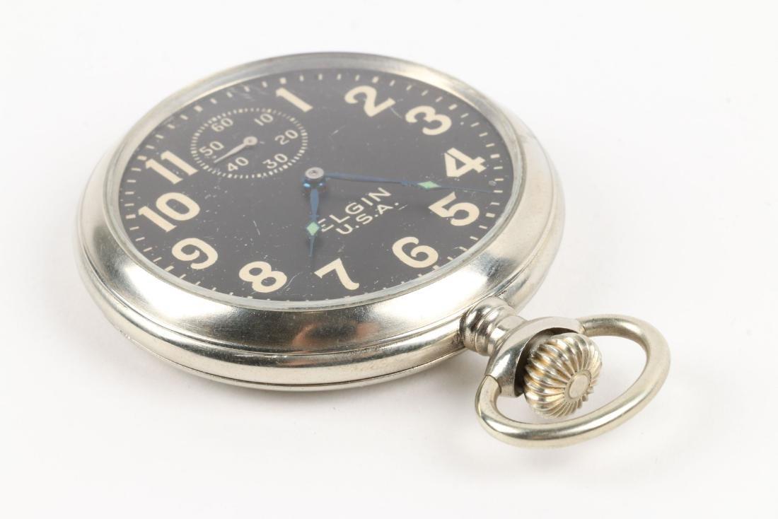 Elgin, Military Pocket Watch & Chain - 3