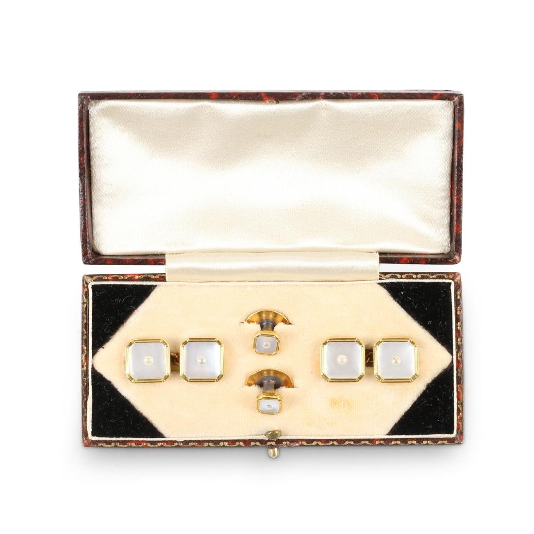 A British 9K Gold & Mother-of-Pearl Cufflinks Set
