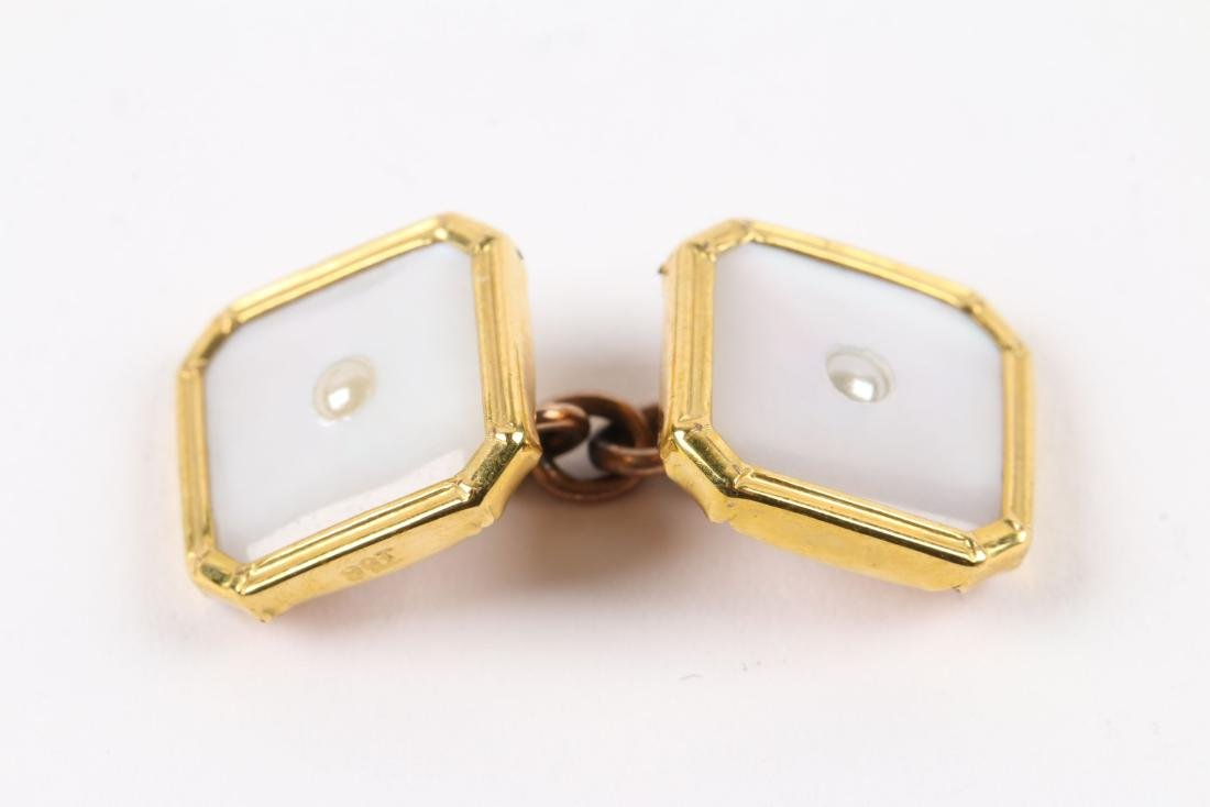 A British 9K Gold & Mother-of-Pearl Cufflinks Set - 3