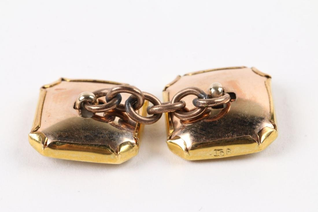 A British 9K Gold & Mother-of-Pearl Cufflinks Set - 4