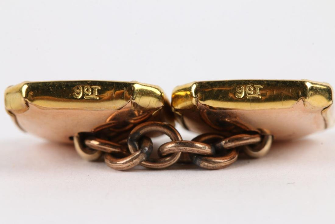 A British 9K Gold & Mother-of-Pearl Cufflinks Set - 5