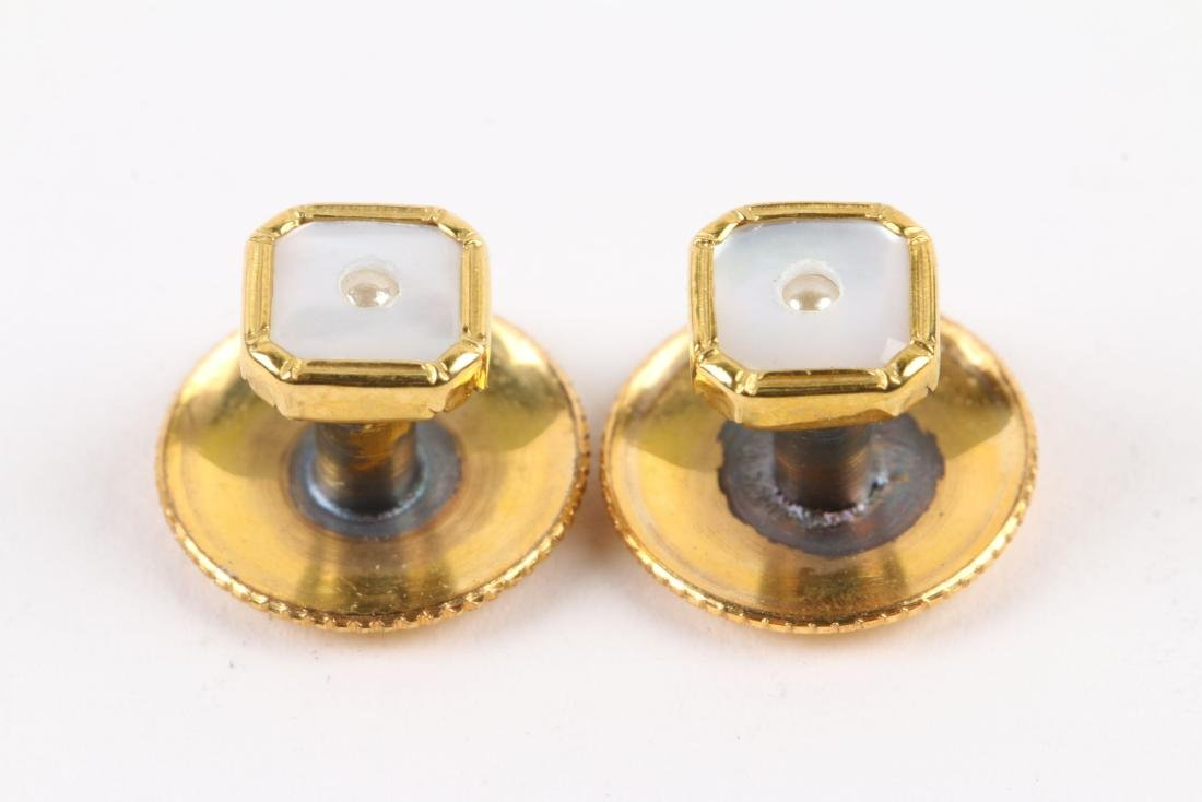 A British 9K Gold & Mother-of-Pearl Cufflinks Set - 6