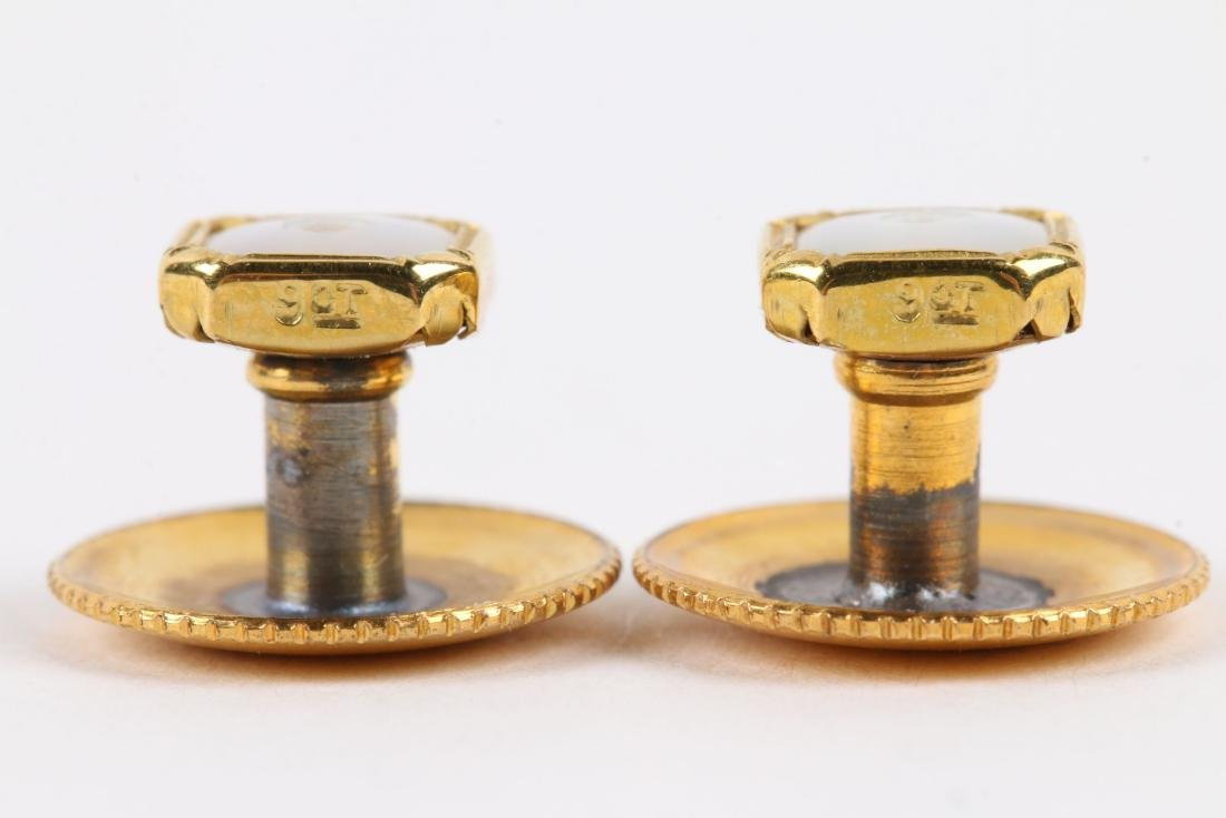 A British 9K Gold & Mother-of-Pearl Cufflinks Set - 8