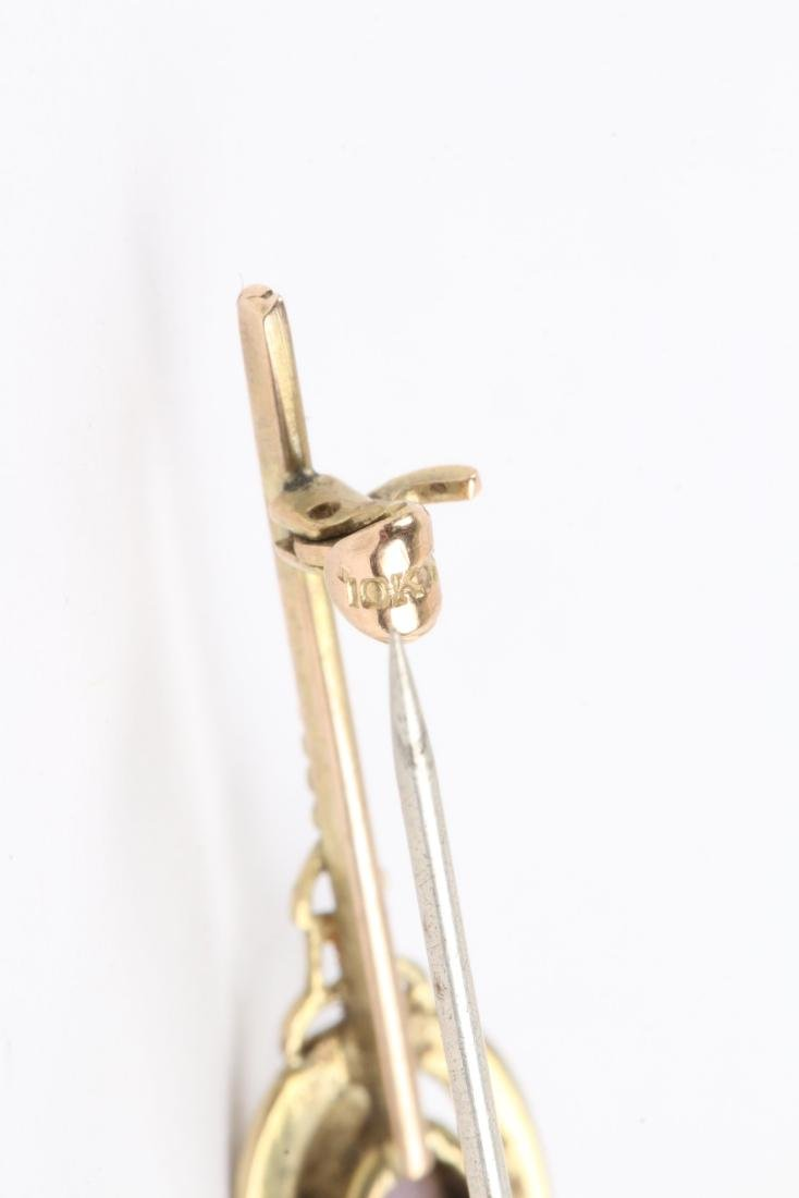 A Pair 9K-10K, Amethyst & Pearl Tie Pins - 10