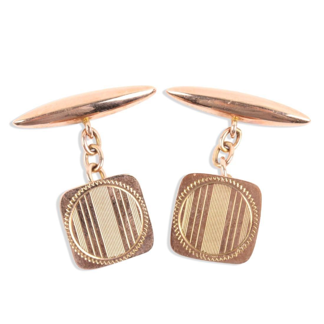 A Pair, Art Deco 9K Rose Gold Cufflinks