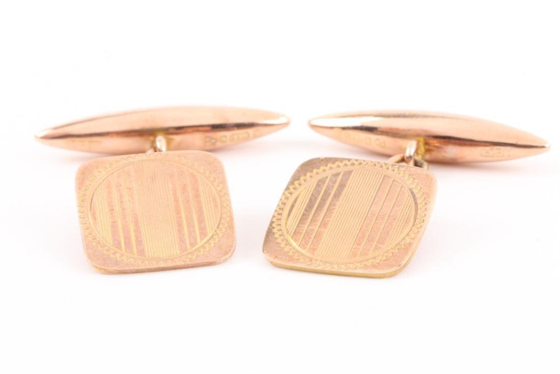 A Pair, Art Deco 9K Rose Gold Cufflinks - 2