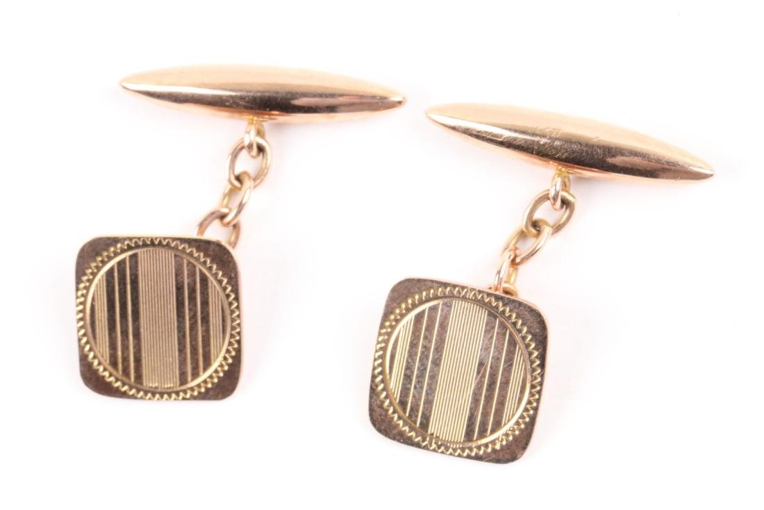 A Pair, Art Deco 9K Rose Gold Cufflinks - 3