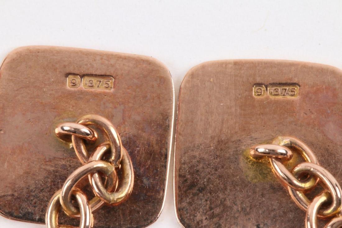 A Pair, Art Deco 9K Rose Gold Cufflinks - 5
