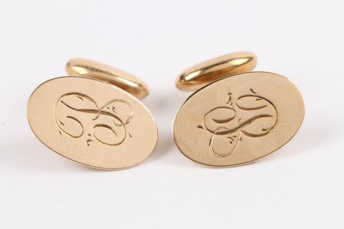 A Pair, Birks 14K Gold Cufflinks - 2