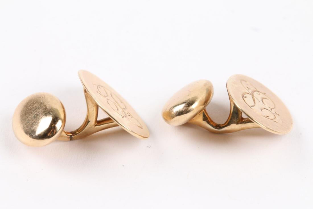 A Pair, Birks 14K Gold Cufflinks - 4