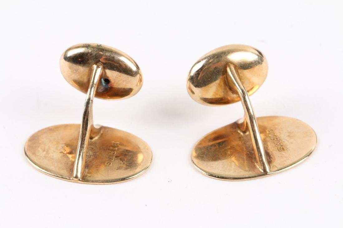 A Pair, Birks 14K Gold Cufflinks - 5