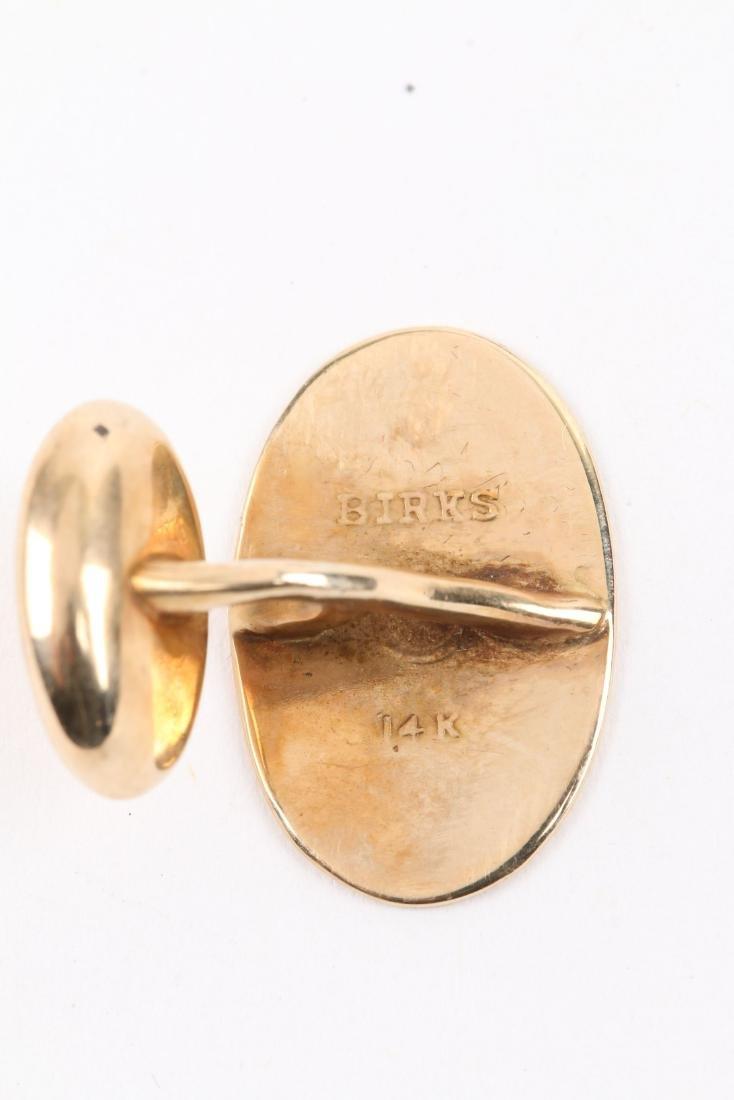 A Pair, Birks 14K Gold Cufflinks - 6